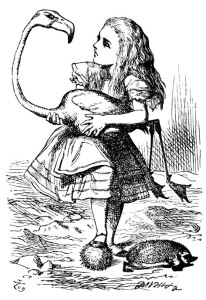 John Tenniel's picture of Alice with flamingo
